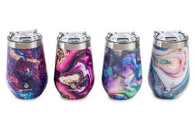 magical rocks 12 oz. wine tumbler , purple and blue, pink and black, blue and green, pink and blue