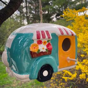 ceramic camper birdhouse