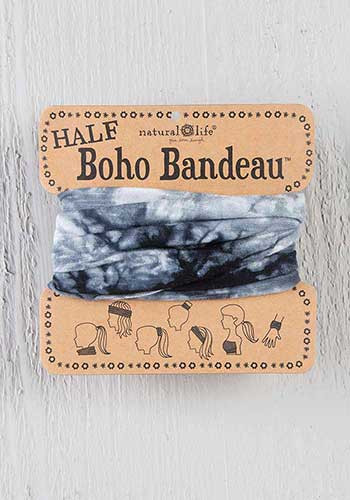white and black tie dye half boho bandeau