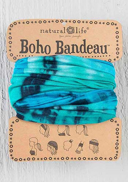 turquoise and blue tie dye boho bandeau