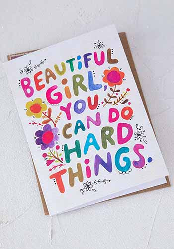 beautiful girl inspiration greeting card