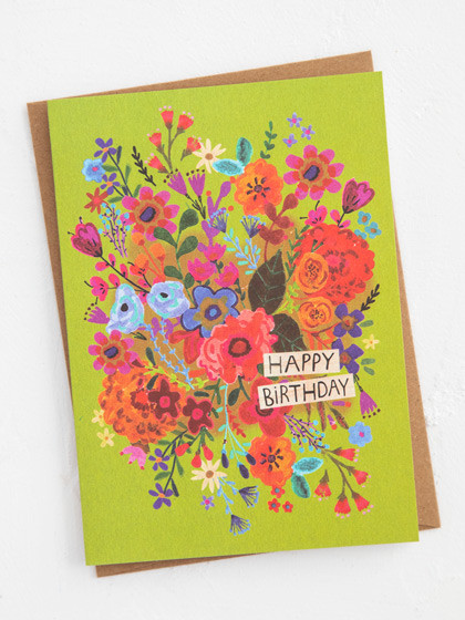 birthday floral bouquet birthday greeting card