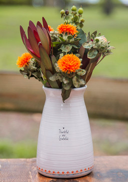 thankful and grateful artisan bouquet vase