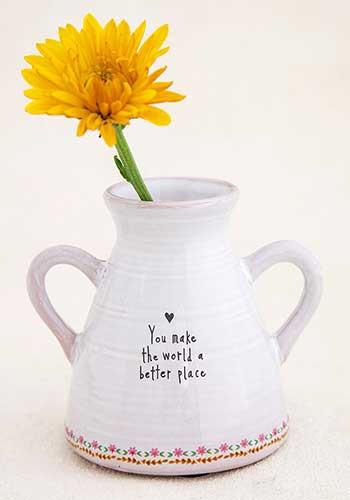 world better place artisan bud vase