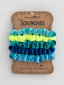 blue velvet scrunchies set of 5