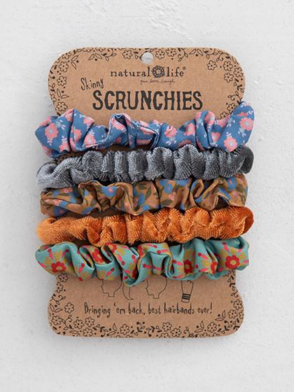 mustard print and velvet scrunchies set of 5