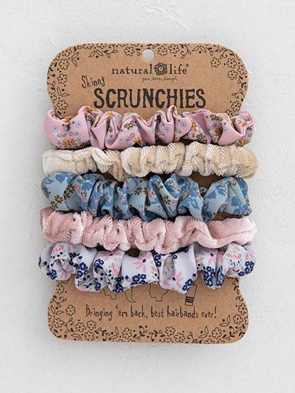 mint print and velvet scrunchies set of 5