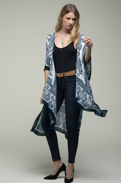 black and navy mandala kimono