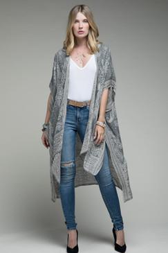 grey paisley print kimono