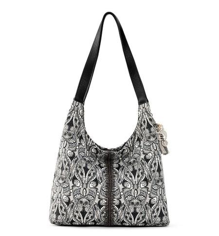 black and white hermosa hobo bag