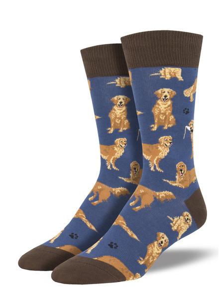 golden retrievers blue mens crew socks