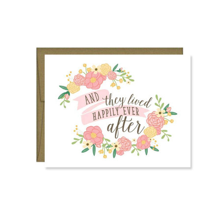 they lived happily ever after wedding greeting card