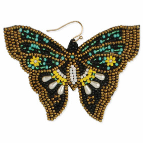 vintage embroidered butterfly earrings