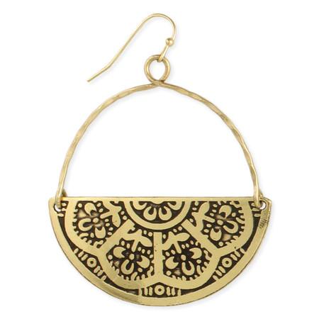 floral embossed gold half circle earrings