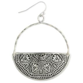 floral embossed silver half circle earrings