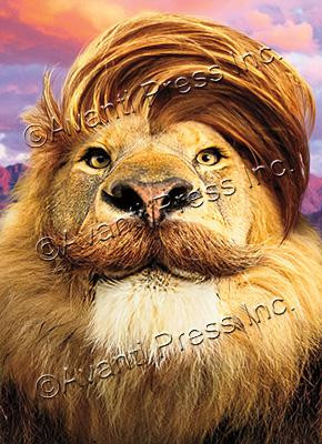 lion with comb over and mustache father's day card