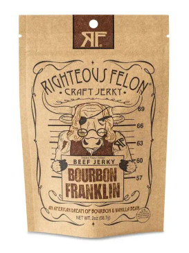 righteous felon's beef jerky, bourbon franklin