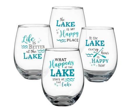 at the lake wine glass
