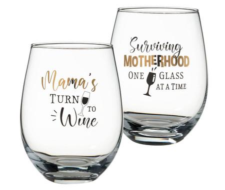 mama's stemless wine glass