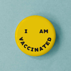 typography smiley vaccinated button
