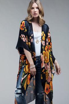 poppy high-low kimono