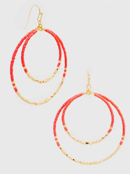 multi bead dangle drop earrings, pink