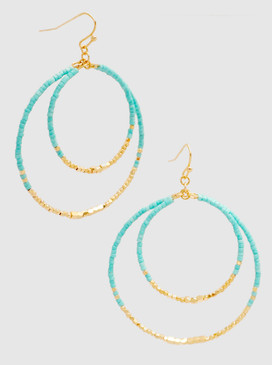 multi bead dangle drop earrings, turquoise