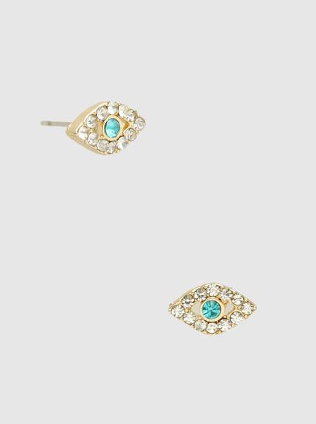 pave crystal evil eye stud earrings, gold
