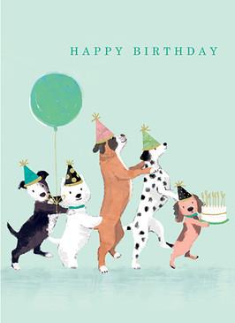 dog conga birthday card