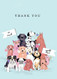 crowd of dogs thank you card