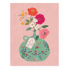 floral vase  sympathy card