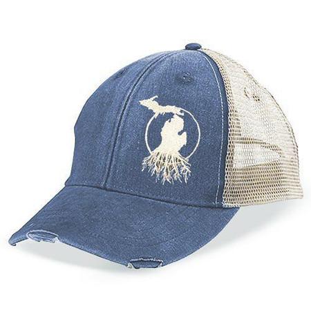 rooted in michigan trucker baseball cap