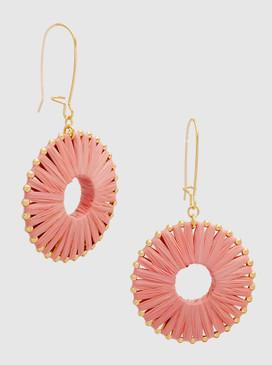raffia metal ball drop earrings