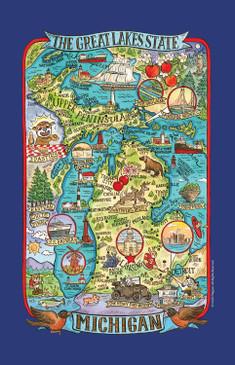 great lakes state michigan tea towel