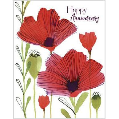 red poppies glitter anniversary card