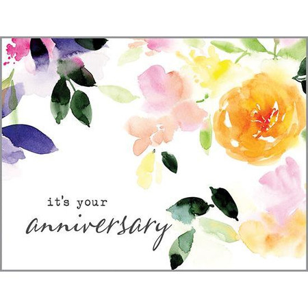 watercolor green leaves anniversary card
