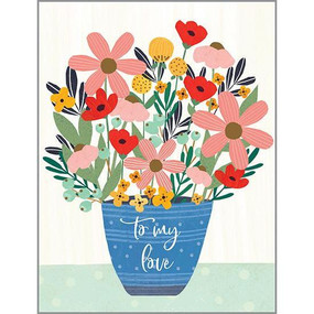 blue pot of flowers anniversary card