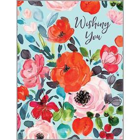 roses on blue birthday card