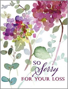 hydrangea stems sympathy card