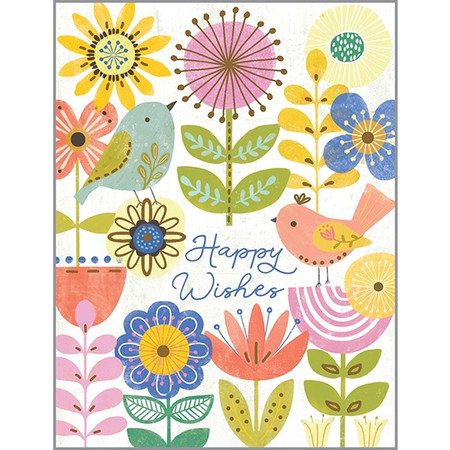 flowers and birds birthday card
