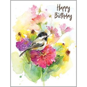garden chickadee birthday card
