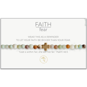 faith over fear stretch bracelet, amazonite gold