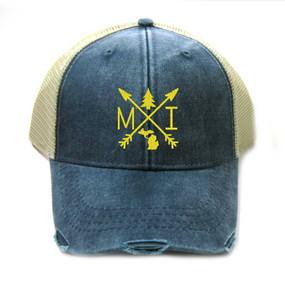 arrows michigan hat, yellow on navy