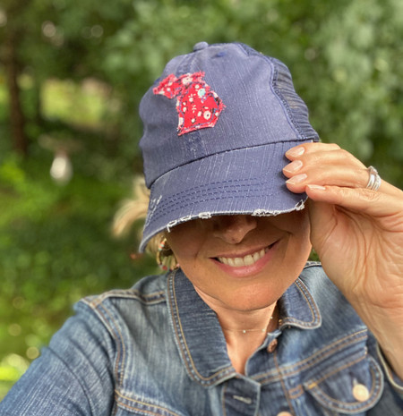 state of michigan trucker hat, red floral