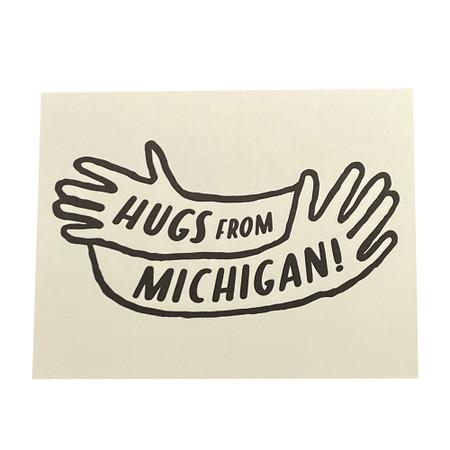 hugs from michigan friendship card