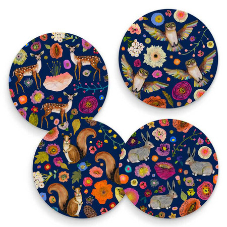 into the woods coasters (set of 4)
