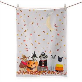 halloween cats tea towel