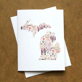 floral print michigan card pink