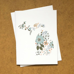 floral print michigan card blue
