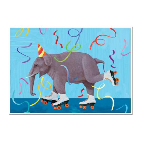 roller elephant birthday greeting card